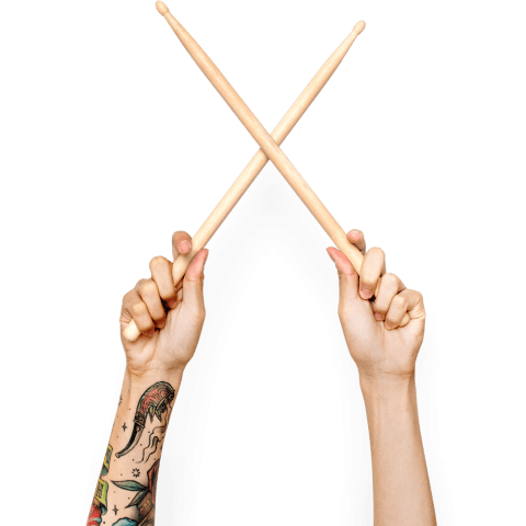 tattooed hand with sticks